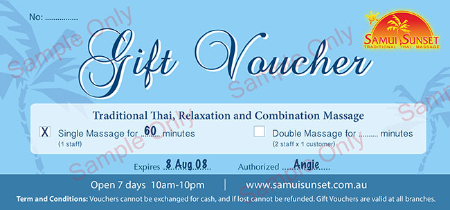 Gift Voucher sample single